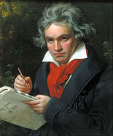 1820 portrait of Ludwig van Beethoven when composing the Missa Solemnis by Joseph Karl Stieler.